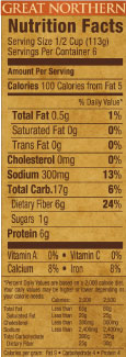 Randall Beans Great Northern White Bean Nutritional Information