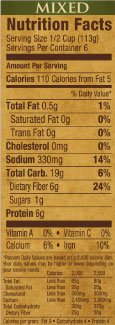 Randall Beans Mixed Beans Nutrition Information