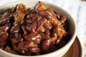 Beer Baked BBQ Ham and Kidney Beans