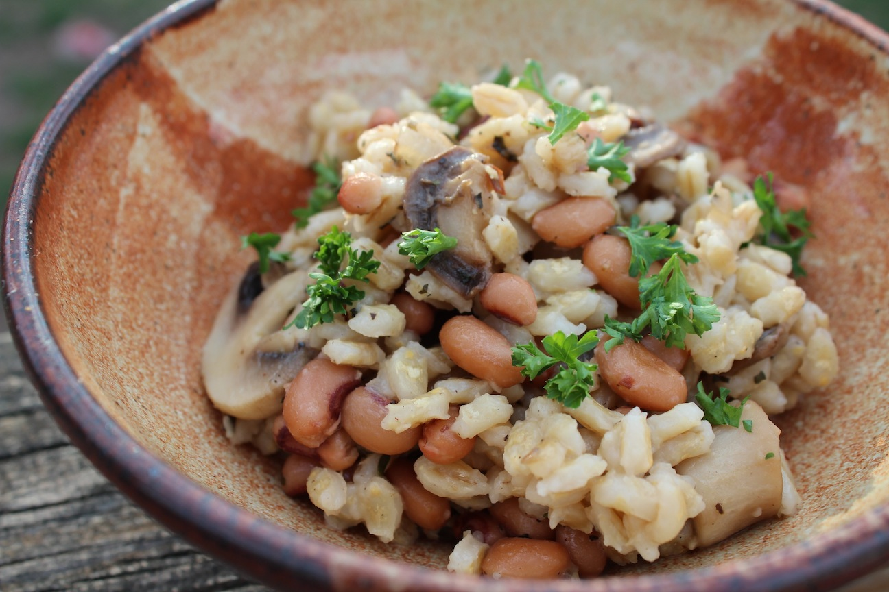 Warm Black Eyed Peas and Mushrooms Salad