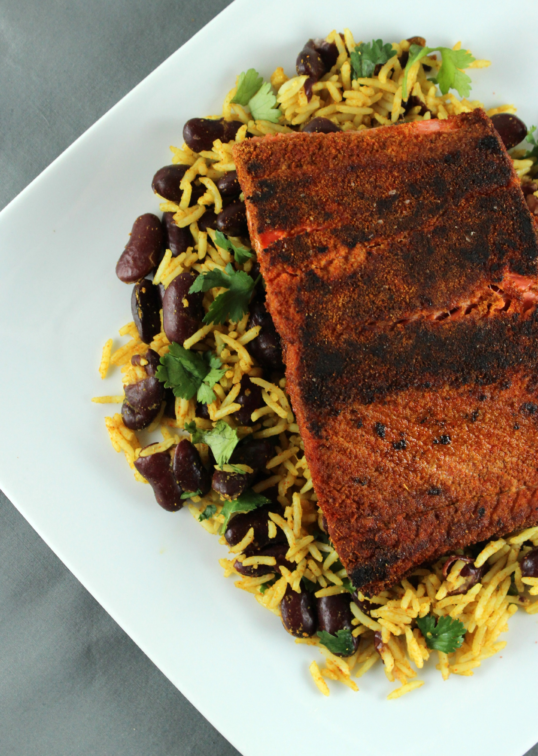 Date Night Delight: Blackened Salmon with Dark Red Kidney Bean Pilaf