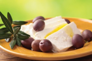 Feta and olives for Greek white beans