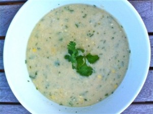 Chilled Thai White Bean Chowder with Corn and Cucumber