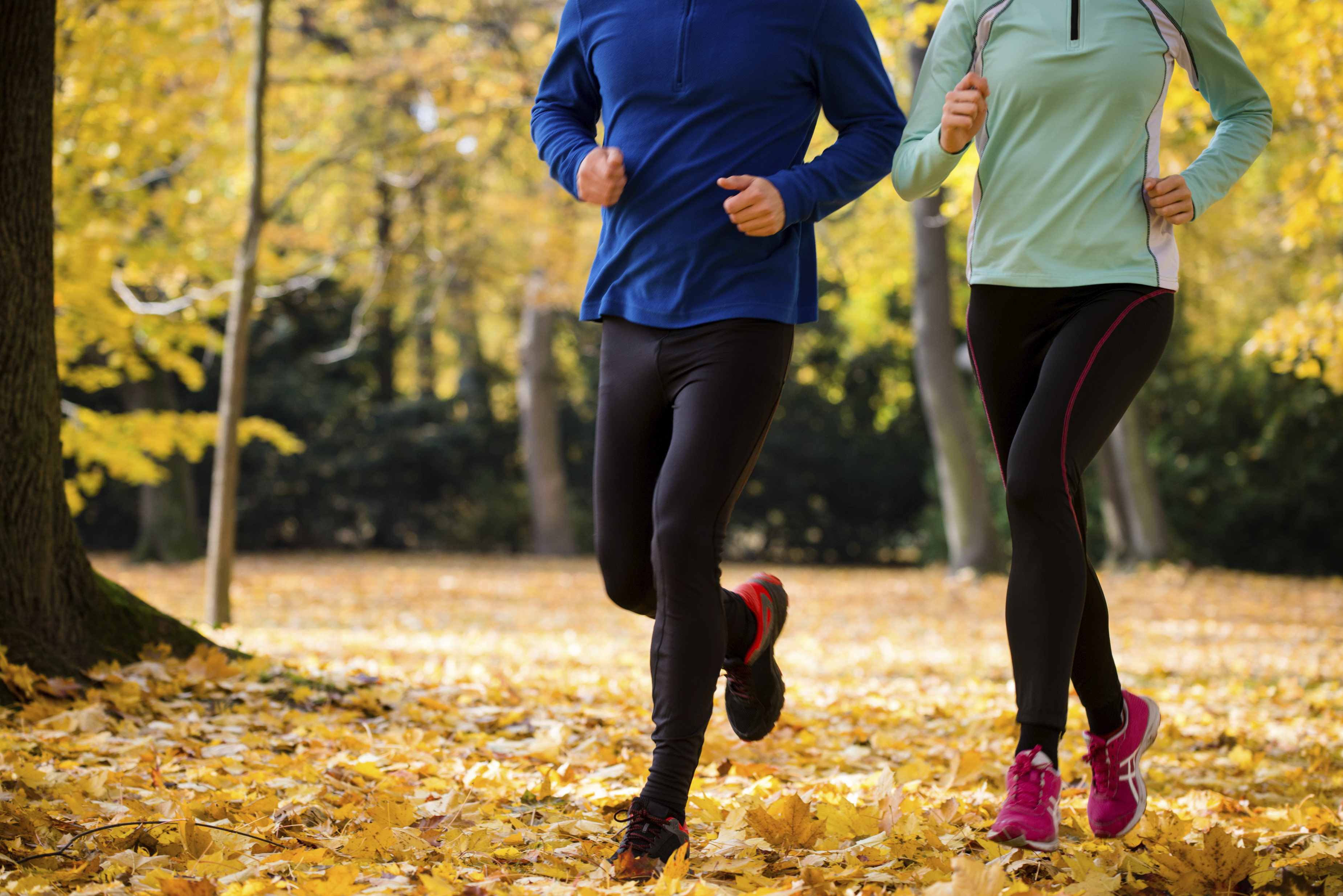 Detail of couple jogging together in beautiful autumn nature