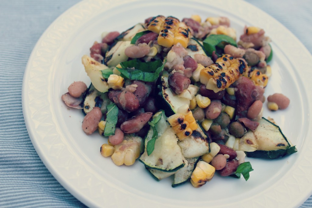 Grilled mixed bean salad