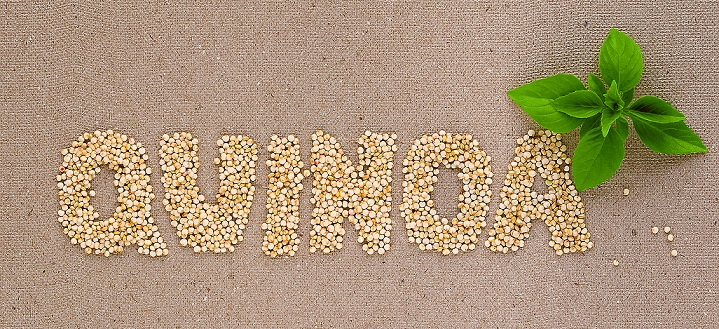 A word 'quinoa' written with quinoa seeds