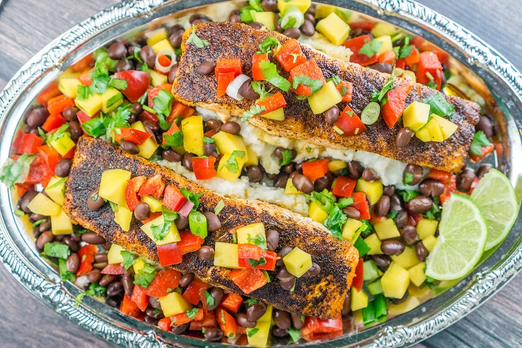 Blackened Salmon with Mango Black Bean Relish