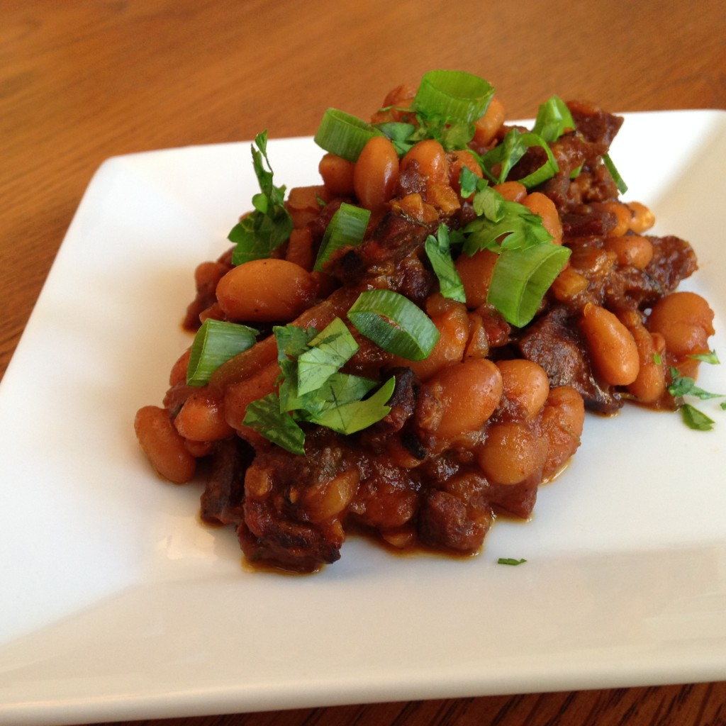 chorizo baked beans with Duke's Jerky