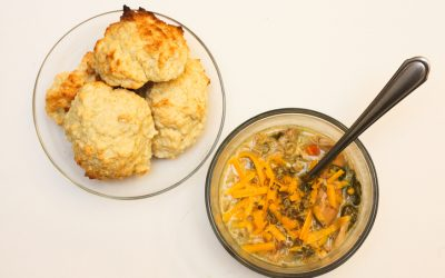 Easy-Fix Chicken and Biscuits Soup with Mixed Beans