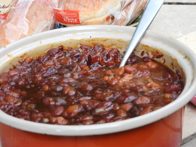 homemade baked beans made with Randall Mixed Beans