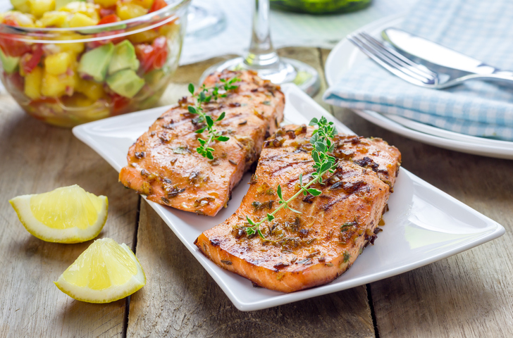 Grilled Salmon Fillet with Pinto Bean Salsa