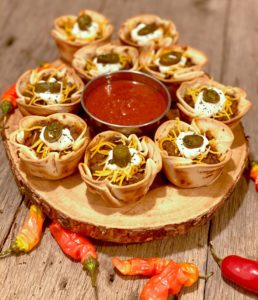 game day refried beans taco pizza cups