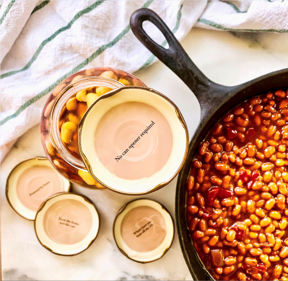 Randall Beans jar of beans with saying on bottom of cap
