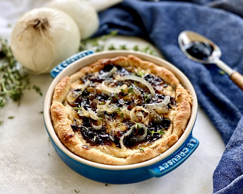 white bean onion tart side