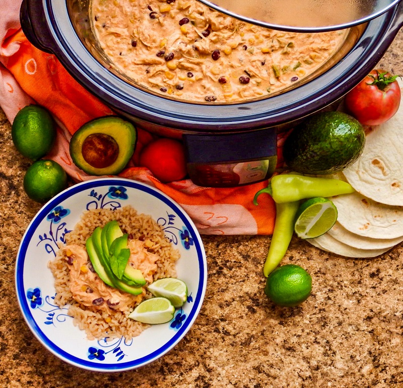 Creamy Crockpot Salsa Chicken