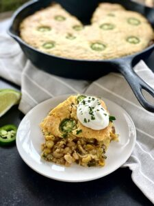 white chicken chili cornbread skillet vert sliced